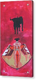 Acrylic Print featuring the painting The Bull Fight  No.1 by Patricia Arroyo