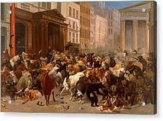 Acrylic Print featuring the painting The Bulls And Bears In The Market by William Holbrook Beard