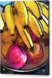 The Bunch Of Yellow Bananas With The Pink Apples Acrylic Print