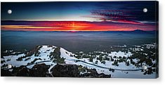 Acrylic Print featuring the photograph The Burning Clouds At Crater Lake by William Lee
