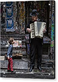 The Busker And The Boy Acrylic Print
