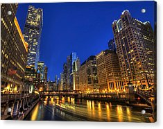 The Busy River In Chicago Acrylic Print by Shawn Everhart
