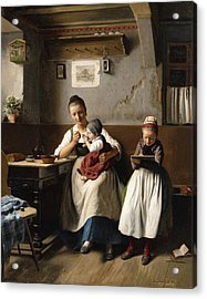 The Caring Mother Acrylic Print by Franz Meyerheim