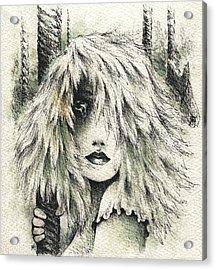 The Carousel Girl Acrylic Print by Rachel Christine Nowicki