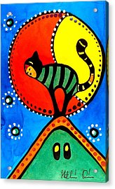 The Cat And The Moon - Cat Art By Dora Hathazi Mendes Acrylic Print by Dora Hathazi Mendes