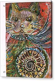 The Cat And The Wheel Acrylic Print by Anne-Elizabeth Whiteway