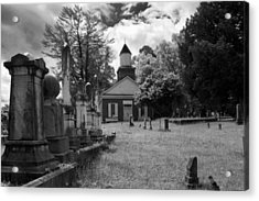 The Cemetery At Harshaw Chapel In Black And White Acrylic Print