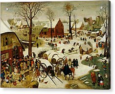 The Census At Bethlehem Acrylic Print by Pieter the Younger Brueghel