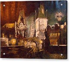 The Charles Bridge In Prague At Night Acrylic Print
