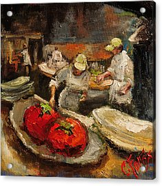 The Chefs Table At Hot And Hot Acrylic Print by Carole Foret