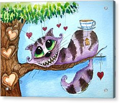The Cheshire Cat - Tea Anyone Acrylic Print by Lucia Stewart