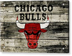 The Chicago Bulls Wood Art Acrylic Print by Brian Reaves