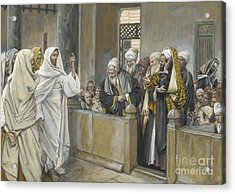 The Chief Priests Ask Jesus By What Right Does He Act In This Way Acrylic Print by James Jacques Joseph Tissot
