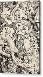 The Children Climbed The Christmas Tree With Animals And All Acrylic Print by Walter Crane
