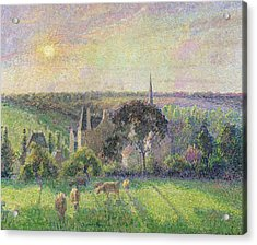 The Church And Farm Of Eragny Acrylic Print by Camille Pissarro