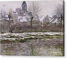 The Church At Vetheuil Under Snow Acrylic Print by Claude Monet