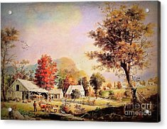 Acrylic Print featuring the painting The Cider Press - After Durrie by Lianne Schneider