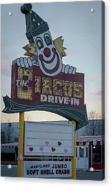 Acrylic Print featuring the photograph The Circus Drive In Sign Wall Township Nj by Terry DeLuco