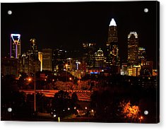 Acrylic Print featuring the digital art The City Of Charlotte Nc At Night by Chris Flees