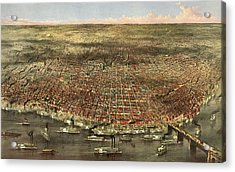 The City Of St. Louis, Circa 1874 Acrylic Print by Currier and Ives