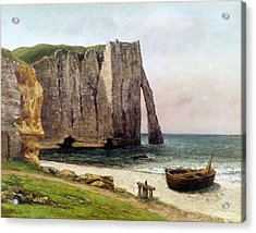The Cliffs At Etretat Acrylic Print by Gustave Courbet