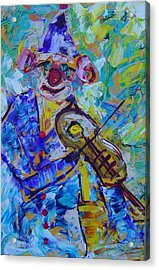 The Clown Playing Violin Acrylic Print