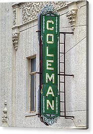 The Coleman Theater Acrylic Print by JC Findley