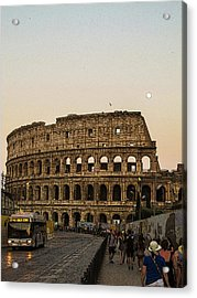 The Coliseum And The Full Moon Acrylic Print