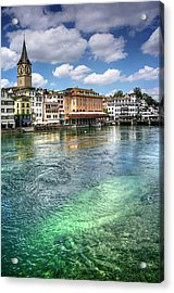 The Colorful Limmat River Zurich Switzerland  Acrylic Print