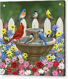 The Colors Of Spring - Bird Fountain In Flower Garden Acrylic Print