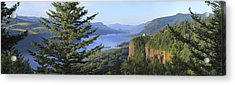 The Columbia River Gorge Vista House Panorama. Acrylic Print by Gino Rigucci