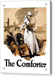 The Comforter - World War One Nurse Acrylic Print by War Is Hell Store