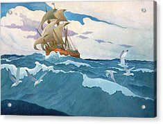 The Coming Of The Mayflower  Acrylic Print by Newell Convers Wyeth