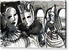 The Conspiracy - Venice Carnival Acrylic Print by Mona Edulesco