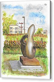 The Conversation, Sculpture By Alex Mccrae In Roxbury Park, Beverly Hills, California Acrylic Print by Carlos G Groppa