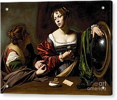The Conversion Of The Magdalene Acrylic Print by Michelangelo Merisi da Caravaggio