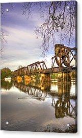 The Coot Augusta Ga 6th Street Trestle Bridge Acrylic Print by Reid Callaway