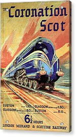 The Coronation Scot - Vintage Blue Locomotive Train - Vintage Travel Advertising Poster Acrylic Print