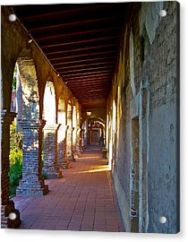 The Corridor By The Serra Chapel San Juan Capistrano Mission California Acrylic Print by Karon Melillo DeVega