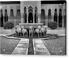 The Court Of The Lions Alhambra Bw Acrylic Print by Guido Montanes Castillo