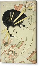 The Courtesan Hanahito Of The Ogiya And Attendants Sakura And Momiji Acrylic Print by Ichirakutei Eisui