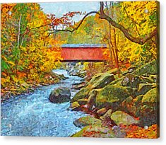 Acrylic Print featuring the digital art The Covered Bridge At Mcconnells Mill State Park by Digital Photographic Arts