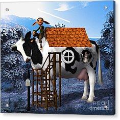 The Cow House Acrylic Print by Jutta Maria Pusl