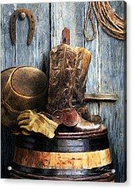 The Cowboy Acrylic Print by Bill Fleming