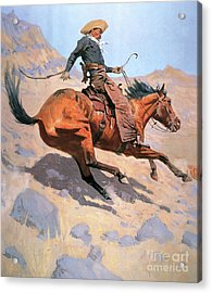 The Cowboy Acrylic Print by Frederic Remington