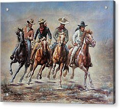 Acrylic Print featuring the painting The Cowboys by Harvie Brown