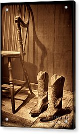 The Cowgirl Boots And The Old Chair Acrylic Print by American West Legend By Olivier Le Queinec