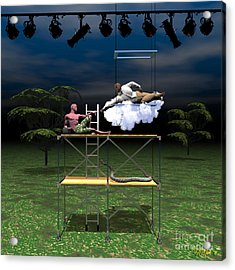 The Creation Of Adam Restaged Acrylic Print by Walter Oliver Neal