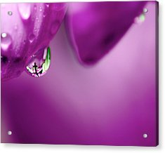 The Cross In Reflective Purple Water Drop Acrylic Print