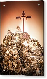 The Cross In The Grotto, Iowa Acrylic Print by Art Spectrum